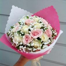 Buket Bunga Mawar Pink Putih BF-01