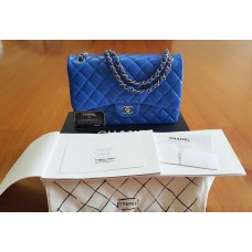 BNIB Chanel Jumbo Blue Electric Lambskin Light gold chain