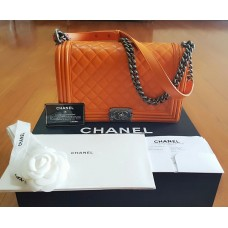 BNIB Chanel Boy Orange Lambskin
