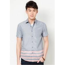 KEI&KORI Short Sleeve Chambray Shirt With Stripe Panel At Hem