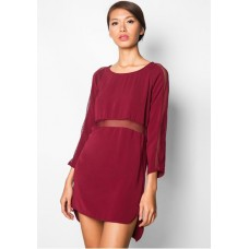 EZRA Mesh Insert Shift Mini Dress