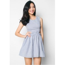 EZRA Cut-Out Fit & Flare Mini Dress