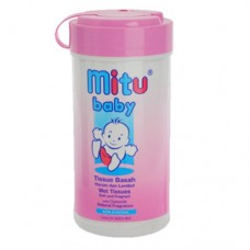 Tissue Mitu Baby Wet Pink Non Alcohol bottle 60s